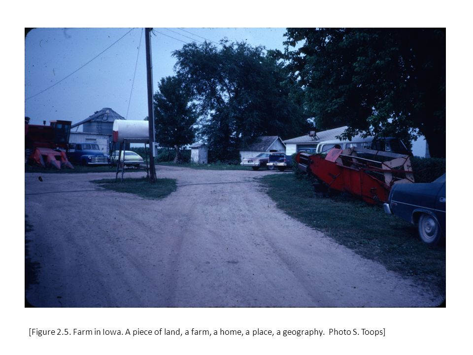 [Figure 2.5. Farm in Iowa. A piece of land, a farm, a home, a place, a geography. Photo S. Toops]